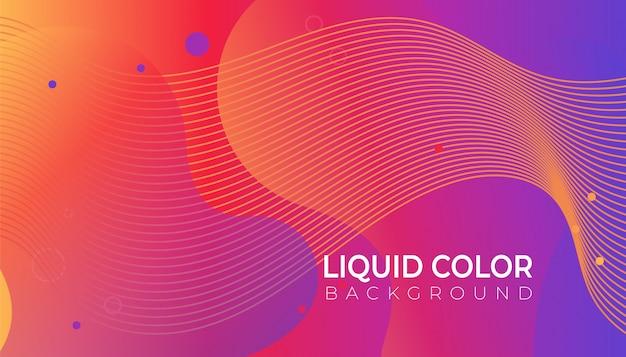 Fundo gradiente de cores brilhantes com ondas de gradientes líquidos Vetor Premium