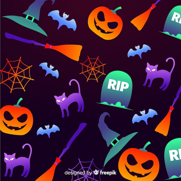 Fundo gradiente de elementos de halloween Vetor grátis