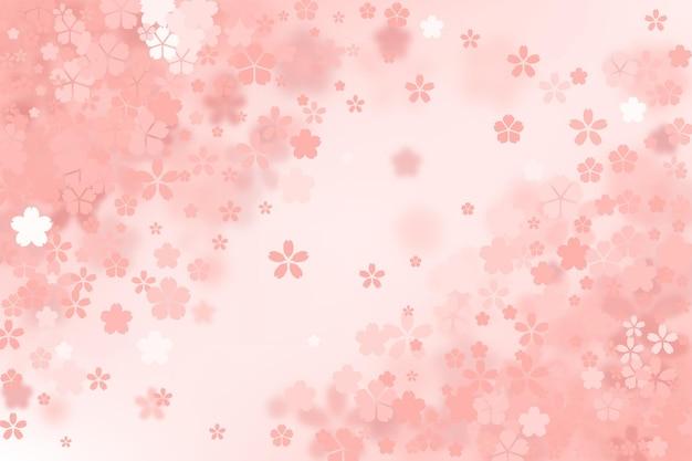 Fundo gradiente fofo de flores de sakura Vetor Premium