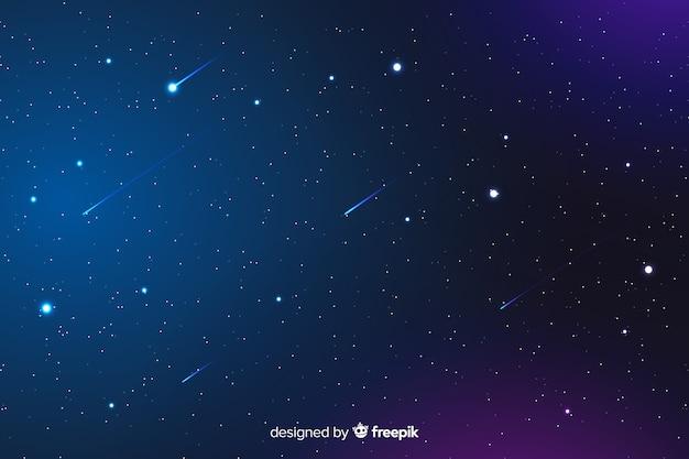 Fundo gradiente noite com estrelas cadentes Vetor grátis