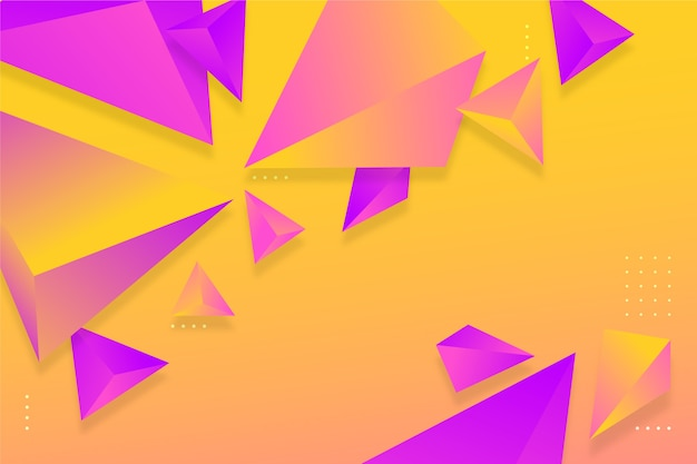 Fundo gradiente violeta e laranja triângulo com cores vivas Vetor grátis