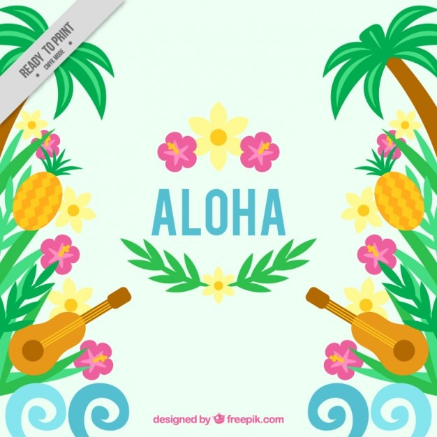 Fundo havaiano com ukulele e flores Vetor grátis