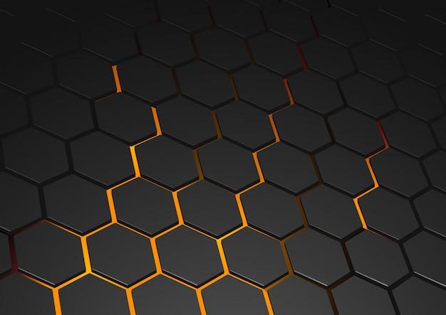 Fundo hexagonal brilhante Vetor Premium