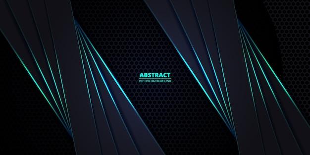 Fundo hexagonal em fibra de carbono escuro e turquesa com linhas luminosas turquesa e destaques. Vetor Premium