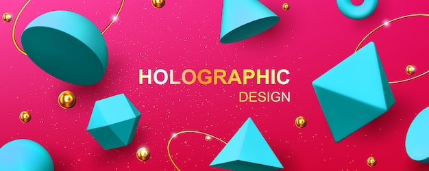 Fundo holográfico com formas geométricas 3d, bolas douradas, anéis e glitter. desenho abstrato com figuras de renderização turquesa, cone, pirâmide, octaedro e toro em fundo rosa Vetor grátis