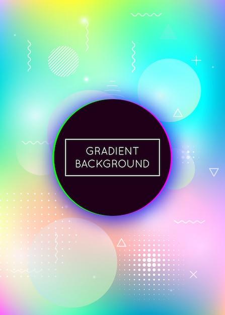 Fundo holográfico com formas líquidas. gradiente dinâmico com elementos fluidos de memphis Vetor Premium