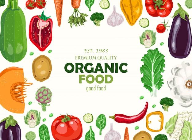 Fundo horizontal com legumes Vetor Premium