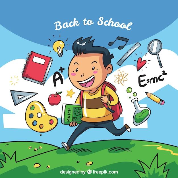 Fundo infantil com acessórios escolares desenhados à mão Vetor grátis
