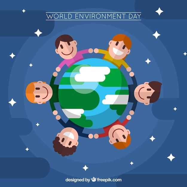 Fundo infantil em todo o mundo em design plano Vetor grátis