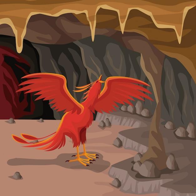 Fundo interior da caverna com criatura mitológica grego phoenix Vetor Premium
