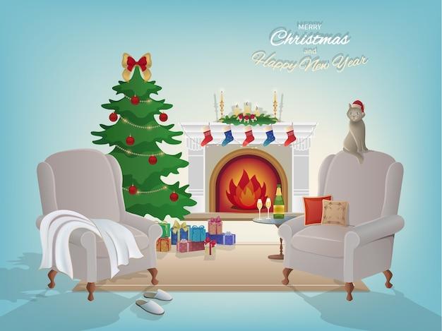 Fundo interior da sala, lareira, árvore de natal, poltronas Vetor Premium