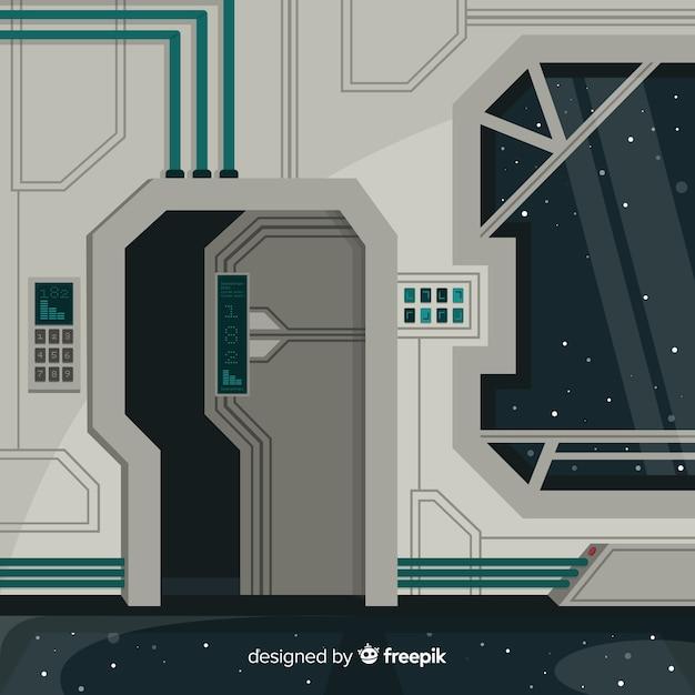 Fundo interior de nave espacial com design plano Vetor grátis