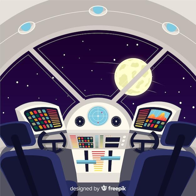 Fundo interior de nave espacial moderna com design plano Vetor grátis