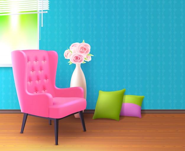 Fundo interior realista de cadeira-de-rosa Vetor grátis