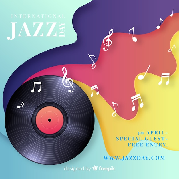 Fundo internacional realista do dia jazz Vetor grátis