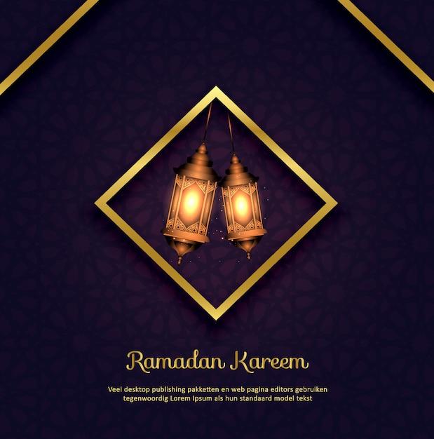 Fundo islâmico ramadan kareem com lâmpadas Vetor Premium