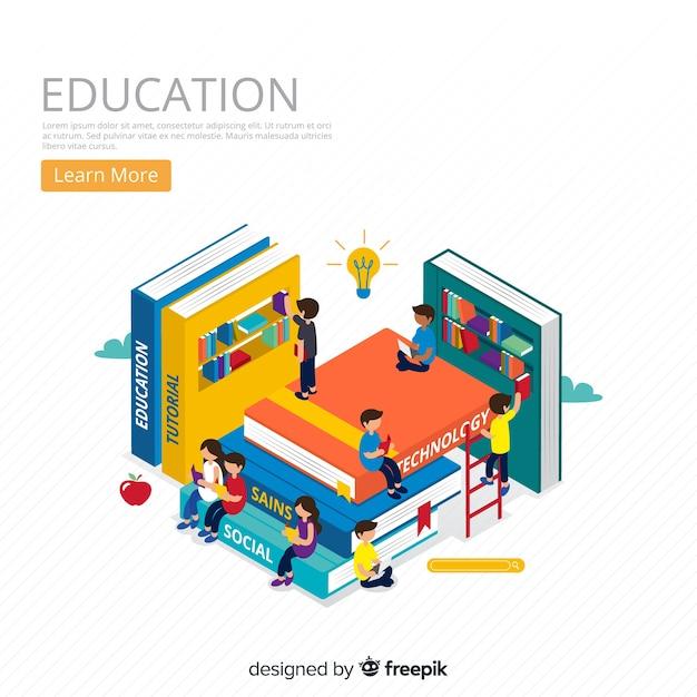 Fundo isométrico de conceito de educação Vetor grátis