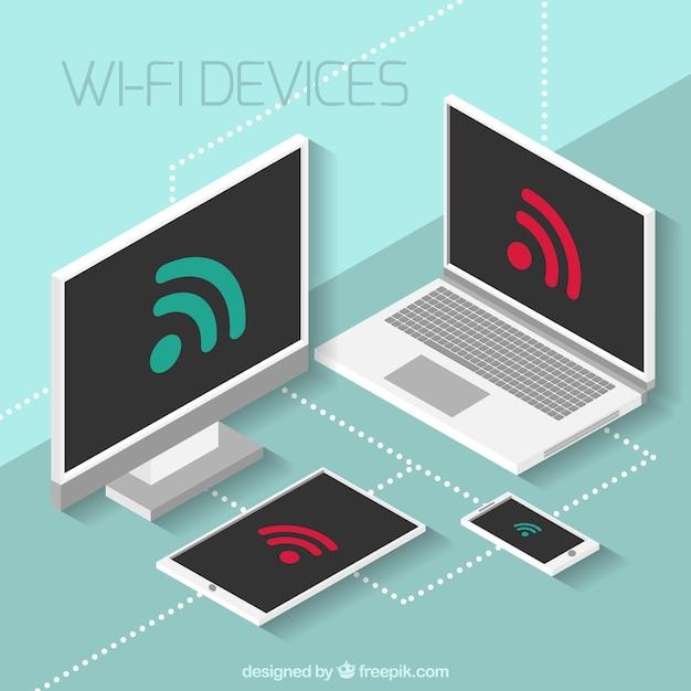 Fundo isométrico de dispositivos eletrônicos com sinal wifi Vetor grátis