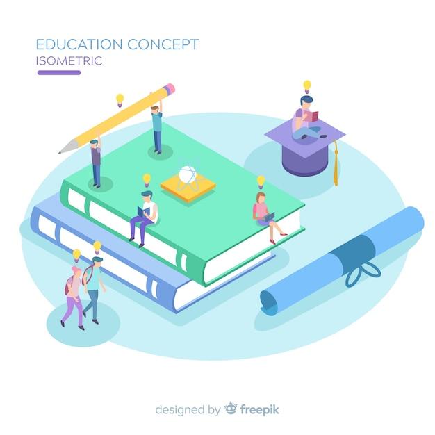 Fundo isométrico de educação Vetor grátis