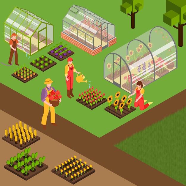 Fundo isométrico de fazenda Vetor grátis