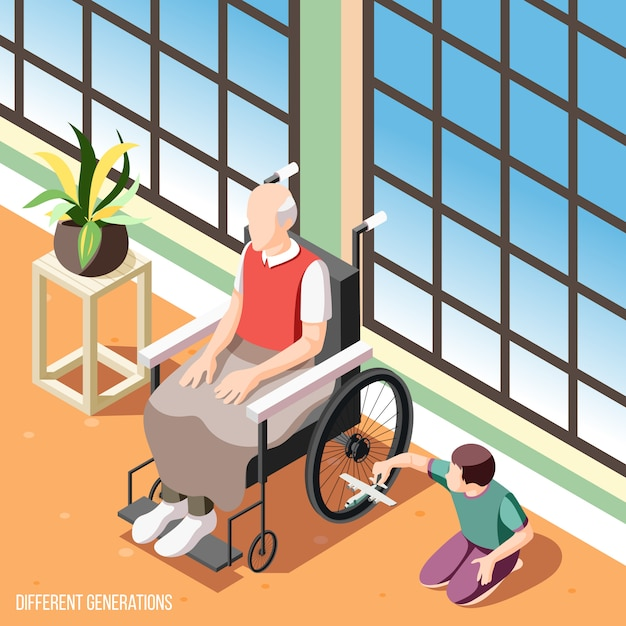 Fundo isométrico de gerações diferentes com homem sênior em cadeira de rodas, assistindo a ilustração de neto Vetor grátis