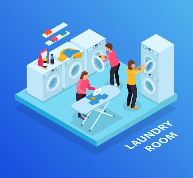 Fundo isométrico de lavanderia com texto e máquinas de lavar linha tábua e personagens humanos femininos Vetor grátis