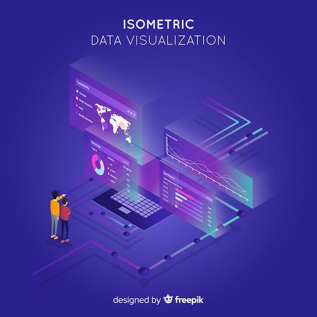 Fundo isométrico do conceito de visualização de dados Vetor grátis