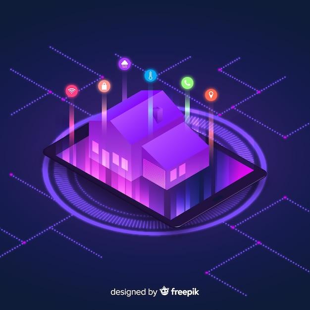 Fundo isométrico em casa inteligente de gradiente Vetor grátis
