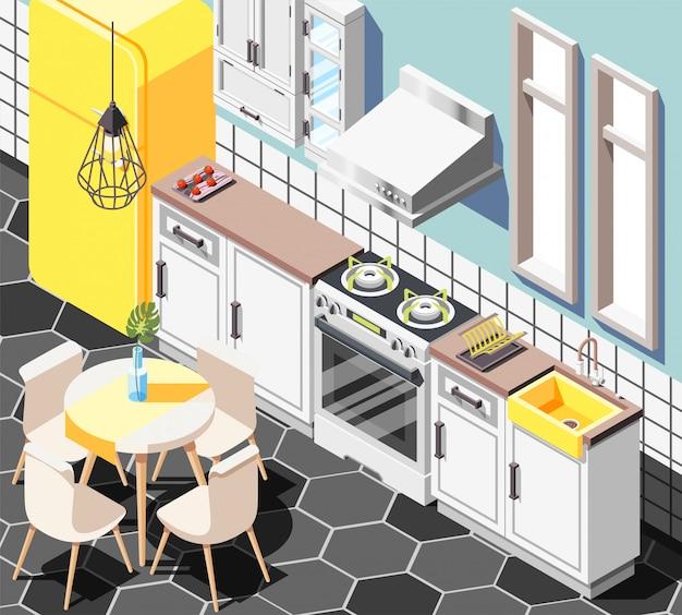 Fundo isométrico interior do sotão com vista interior da cozinha moderna, com móveis armários geladeira e mesa Vetor grátis