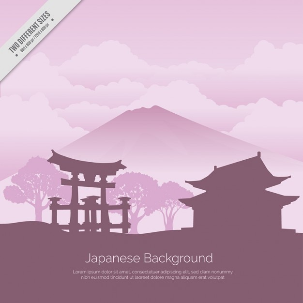 Fundo japonês com templo Vetor grátis