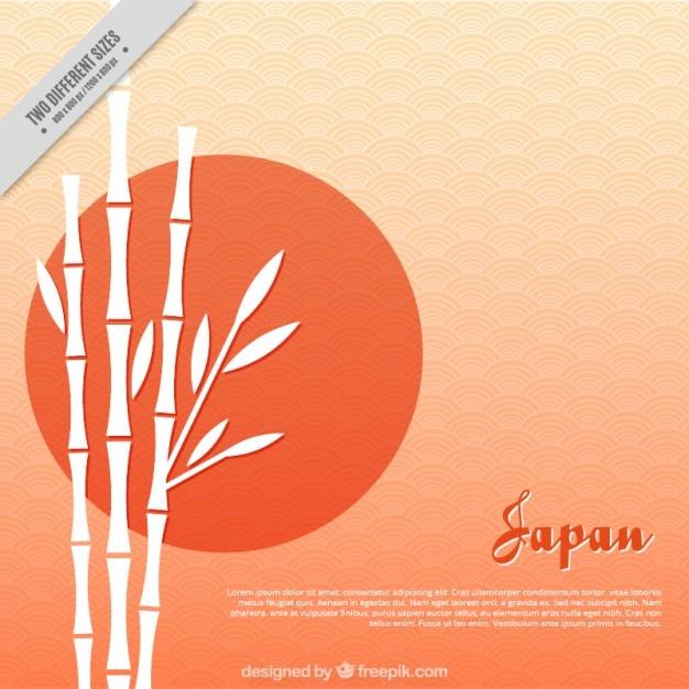 Fundo japonês, por do sol com bambu Vetor grátis