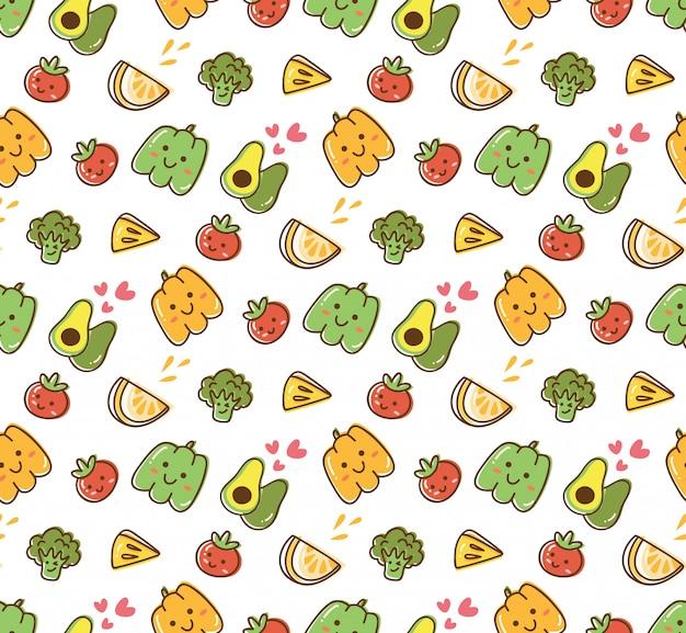 Fundo kawaii de frutas e vegetais Vetor Premium