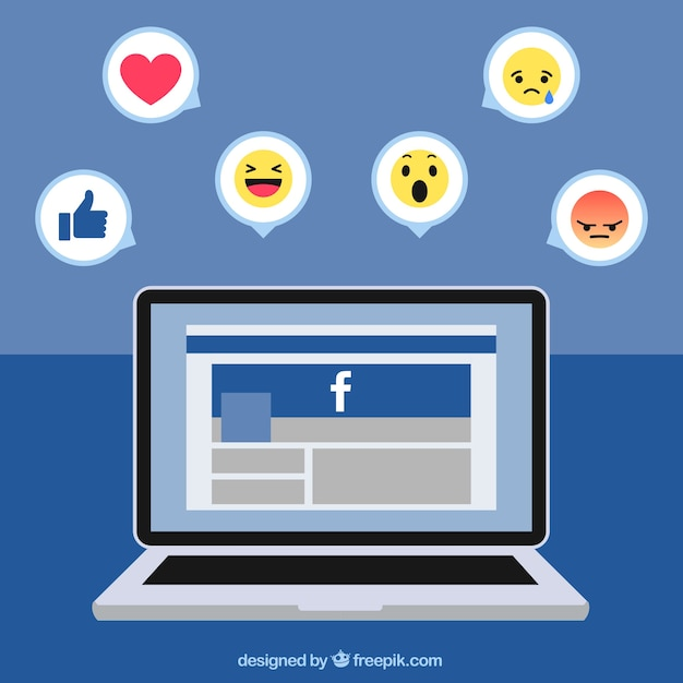 Fundo laptop com facebook e ícones Vetor grátis