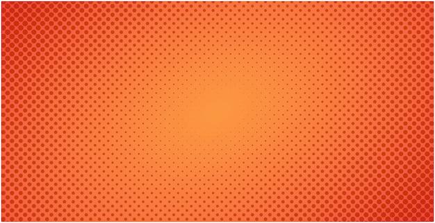 Fundo laranja de meio-tom pontilhado vermelho ou ilustração de pano de fundo gradiente pop art Vetor Premium