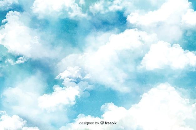 Fundo lindo nuvens em aquarela Vetor grátis