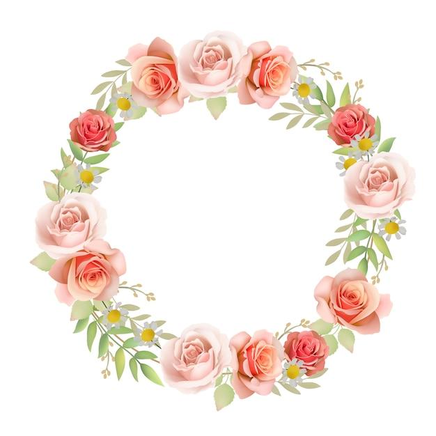 Fundo lindo quadro com rosas florais Vetor Premium