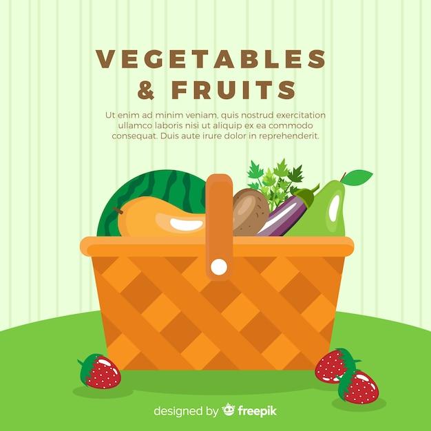 Fundo liso de legumes e frutas Vetor grátis