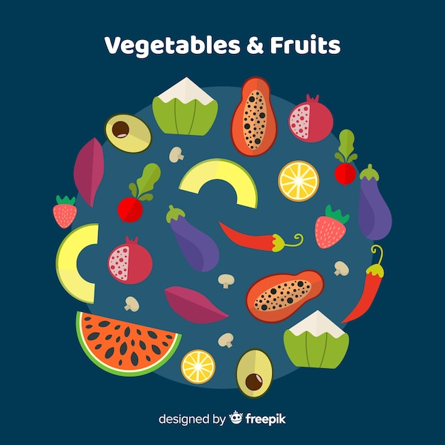 Fundo liso de vegetais e frutas Vetor grátis