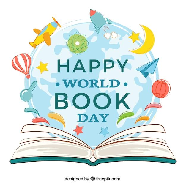 Fundo livro aberto com itens decorativos para dia mundial do livro Vetor Premium