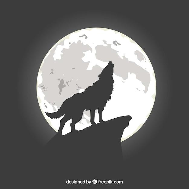 Fundo lobo uivando na lua Vetor grátis