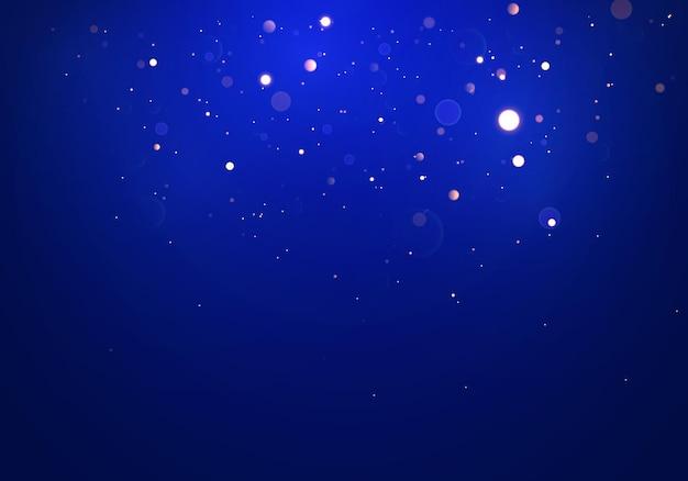 Fundo luminoso festivo azul, roxo e dourado com luzes coloridas bokeh. noite mágica de feriado, ouro brilhante cintila abstrato de luz Vetor Premium