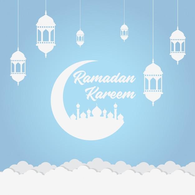 Fundo macio azul do ramadã Vetor Premium