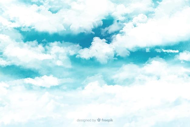 Fundo maravilhoso nuvens em aquarela Vetor grátis