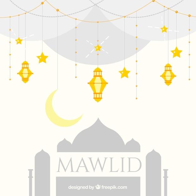 Fundo mawlid com mesquita e douradas lanternas Vetor grátis