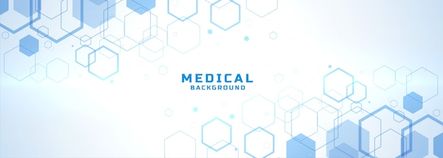 Fundo médico abstrato com formas de estrutura hexagonal Vetor grátis