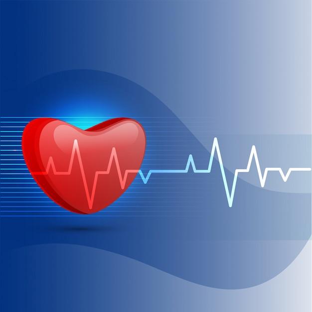 Fundo médico com coração e eletrocardiograma. Vetor Premium