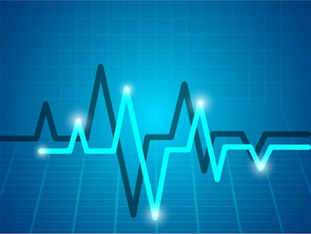 Fundo médico com eletrocardiograma azul-celeste. Vetor Premium