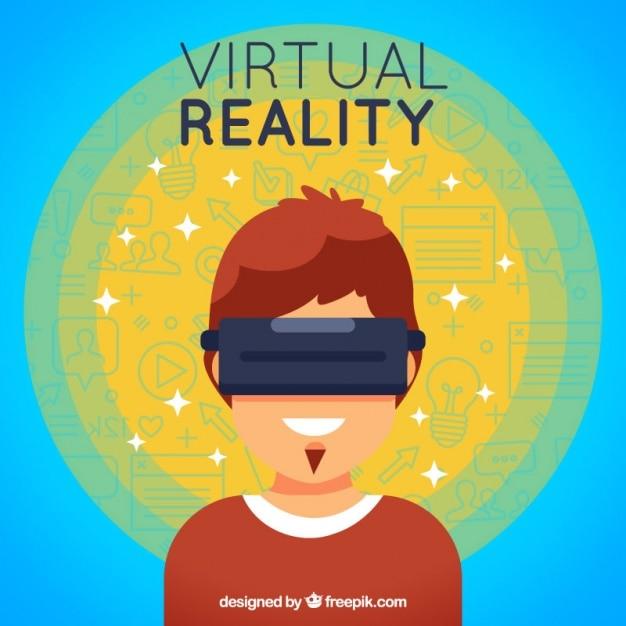 Fundo menino abstrato com óculos de realidade virtual Vetor grátis