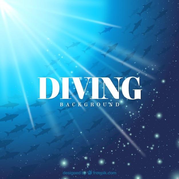 Fundo mergulho com peixes e brilho Vetor grátis