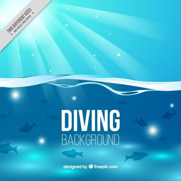 Fundo mergulho com peixes e sol Vetor grátis